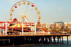 Ferris wheel and pier Stock Photos