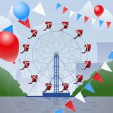 Ferris wheel. With decorative penants and balloons Royalty Free Stock Photo