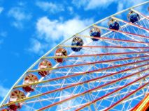 Ferris Wheel. Shot of a ferris wheel, sunshine stock photography