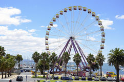 Ferris Wheel. During the summer time in Geelong Victoria the sky line is invaded by this Ferris Wheel and when summer is over it is pulled down and moved to a Royalty Free Stock Photography