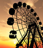 Ferris Wheel. Over orange sunset Stock Images