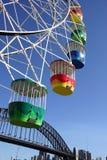 Ferris Wheel. Colourful ferris wheel with blue sky, Luna Park, Sydney, Australia Royalty Free Stock Image
