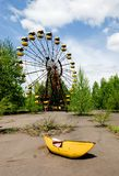 Ferris wheel in abandoned amusement park in Pripyat town stock photos