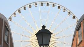 Ferris wheel. Against blue sky stock footage