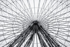 Ferris wheel in amusement park. Black and white fine art photo Royalty Free Stock Images