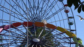 Ferris wheel at the amusement Park in action. Summertime stock footage