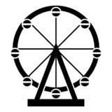 Ferris wheel Amusement in park on attraction icon black color vector illustration flat style image. Ferris wheel Amusement in park on attraction icon black color vector illustration