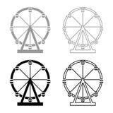 Ferris wheel Amusement in park on attraction icon set black color vector illustration flat style image. Ferris wheel Amusement in park on attraction icon set vector illustration