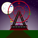 Ferris wheel. Amusement park , a Ferris wheel on the background of the stars and the moon Stock Photography