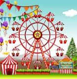 Ferris wheel at the amusement park. Illustration Stock Images
