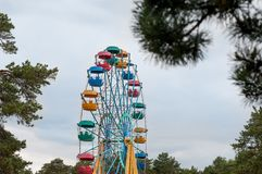 Ferris wheel in an amusement park stock images