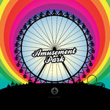 Ferris wheel and amusement park. A vector illustration of ferris wheel and amusement park with rainbow background Royalty Free Stock Photos