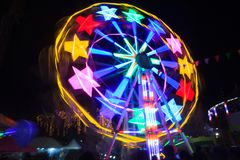 A Ferris wheel is an amusement ride consisting of a rotating upright wheel with multiple passenger-carrying components. Fun Park, royalty free stock photography