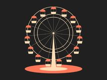 Ferris wheel. Attraction from the amusement park. Retro style, typographical design. Vector. Illustration Royalty Free Stock Photography
