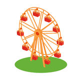 Ferris Wheel Attraction Illustration. Classical retro Ferris wheel on the grass flat style design illustration. Amusement park attractions conceptual vector icon Stock Photography