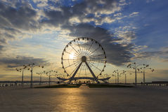 Ferris Wheel at the Baku Boulevard at sunrise Stock Photography
