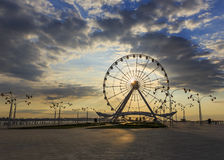 Ferris Wheel at the Baku Boulevard at sunrise Royalty Free Stock Image