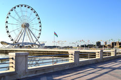 Ferris wheel in Baku. Ferris wheel on seaside boulevard in Baku Stock Images