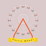 Ferris Wheel. With Banner Vector Illustration Royalty Free Stock Images
