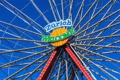 Ferris wheel bearing the `Zurich Welcome` slogan Stock Photos