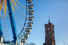 Ferris Wheel in Berlin, Germany - December 5th, 2018. Berlin, Germany - December 5th, 2018: Ferris Wheel against the blue sky next to Rotes Rathaus stock photography