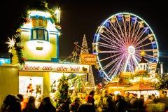 Ferris Wheel bij Kerstmismarkt van Leipzig Royalty-vrije Stock Fotografie