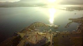 The Ferris wheel and Black sea coast Georgia, Batumi.  stock photos