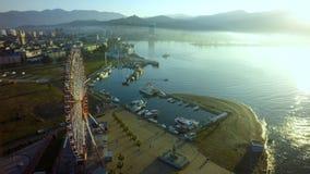 The Ferris wheel and Black sea coast Georgia, Batumi.  royalty free stock photos