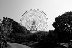 Ferris wheel black and white Royalty Free Stock Photo