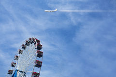 Ferris wheel on the blue sky background Royalty Free Stock Images