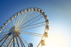 Ferris Wheel on Blue Sky Stock Images