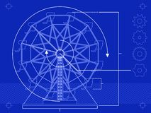 Ferris wheel blueprint. Blueprint style rendering of a ferris wheel Stock Photo