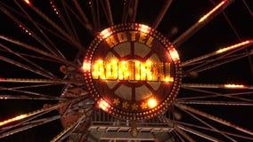 Ferris wheel in bright lights. Golden Sands. Resort in Bulgaria. stock video footage
