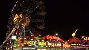 Ferris wheel in bright lights. Golden Sands. Resort in Bulgaria. 4K. stock video