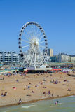 A ferris wheel on the beach against a blue sky Royalty Free Stock Photography