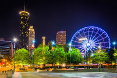 Ferris wheel and buildings seen from Olympic Centennial Park at Stock Photography