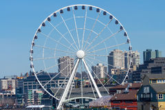 Ferris Wheel Buildings Waterfront Seattle Washington Stock Photos