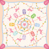 Ferris wheel carnival pattern scarf vector. Pattern scarf ferris wheel carnival theme funny party Stock Photos