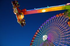 Ferris wheel and carnival ride Royalty Free Stock Images