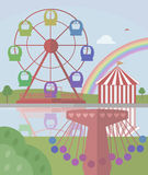 Ferris Wheel and carousel. In City Park Royalty Free Stock Photo