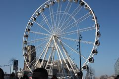 Ferris wheel in the central square of Rotterdam.  royalty free stock image
