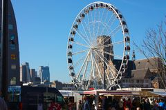 Ferris wheel in the central square of Rotterdam.  stock image