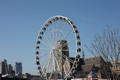 Ferris wheel in the central square of Rotterdam.  stock photo