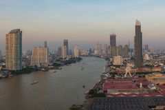 Ferris wheel at Chao Phraya River, Bangkok City, Thailand.  Royalty Free Stock Images