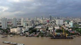 Ferris wheel at Chao Phraya River, Bangkok City, Thailand.  stock video footage