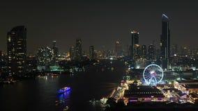 Ferris wheel at Chao Phraya River, Bangkok City, Thailand.  stock video