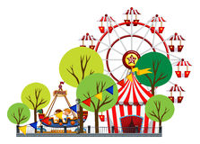 Ferris wheel and children on the ride. Illustration Stock Photography