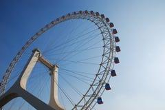 Ferris Wheel on Chinese bridge Royalty Free Stock Photos