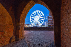 Ferris wheel in the city centre of Gdansk at night Stock Photos