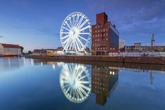 Ferris wheel in the city centre of Gdansk at night Royalty Free Stock Photography